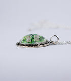 """Irish Grandma"" with Shamrocks in Beaded Bezel Pendant"