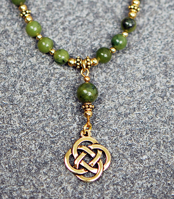 CONN-710-GP  Connemara Marble with Gold Details with Celtic Knot Drop