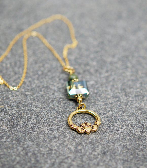 CONN-800-GP Square Mossy Crystal and Connemara Marble Pendant with Claddagh