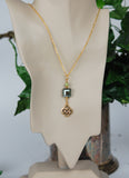 CONN-803-GP Square Mossy Crystal and Connemara Marble Pendant