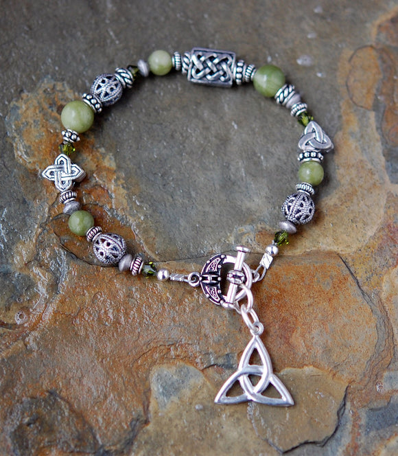 3 Celtic Knots Connemara Marble Bracelet with Toggle