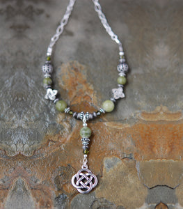 CONN-31 Connemara Marble Necklace with Round Knot Drop