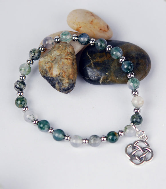 Gardener's Stone Moss Agate Bracelet with Round Celtic Knot