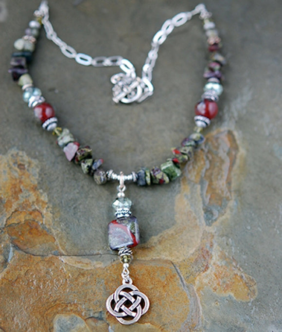 Celtic Dragons Blood Japser Necklace