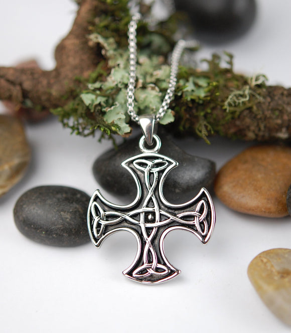 DM-304 Stainless Steel Square Celtic Cross Pendant