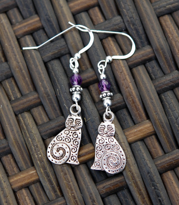 GS388 Celtic Cats with Amethyst