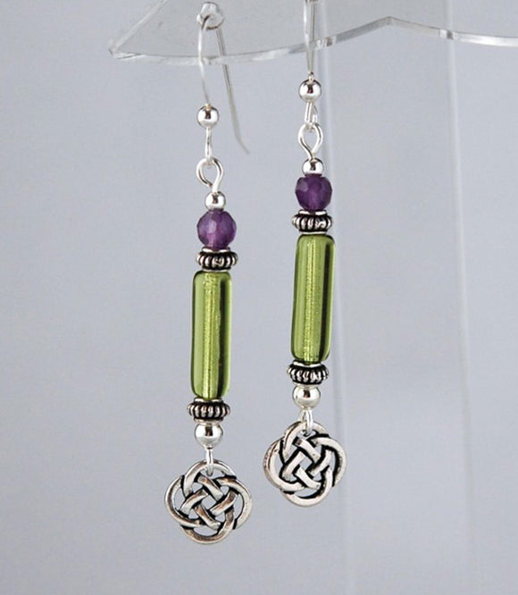 GS465 Green Column Celtic with Amethyst