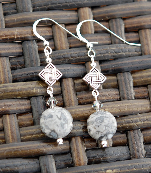 GS571 Diamond Celtic Knot with Grey Jasper - 3pk