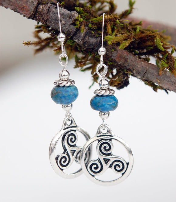GS616 Blue Jasper with Celtic Triskele - 3pk