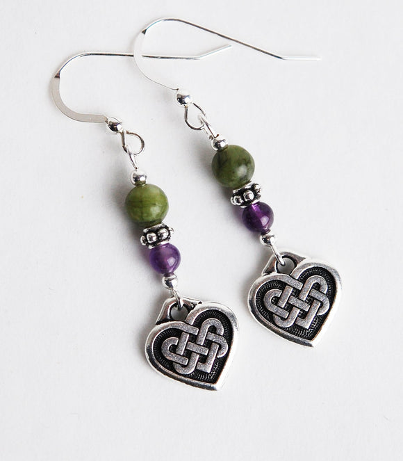 GS643 Amethyst and Connemara Celtic Heart - 3pk