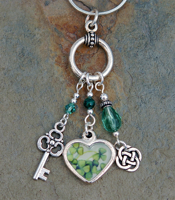 LGD-01 Legend of the Irish Shamrock Heart Pendant with Malachite