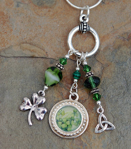LGD-02 Legend of the Irish Shamrock Pendant with Malachite