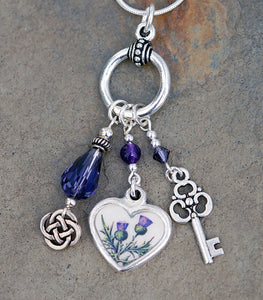 LGD-03 Legend of the Scottish Thistle Heart Pendant with Amethyst