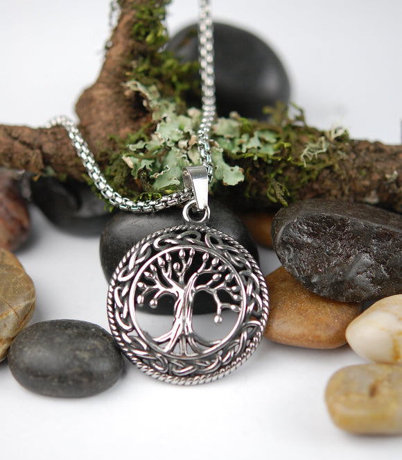 DM-301 Stainless Steel Celtic Tree of Life Pendant