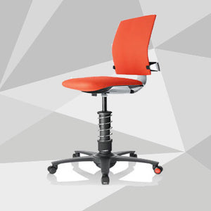 3Dee ergonomic office chair in red and polished aluminium