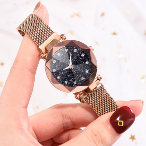 Image of Ladies Magnetic Starry Sky Clock Luxury Wristwatch