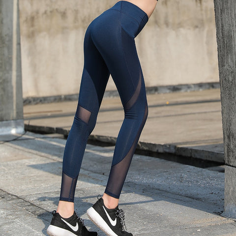 Image of Mesh Panels Stretchy Yoga Pants