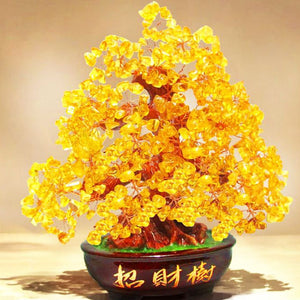 Crystal Lucky Money Fortune Tree Wealth Golden Home Office Decoration Best Gifts