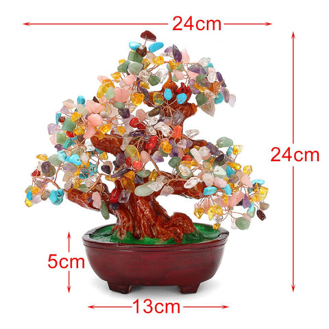 Natural Crystal Quartz Money Tree Feng Shui Plants Stone Trees