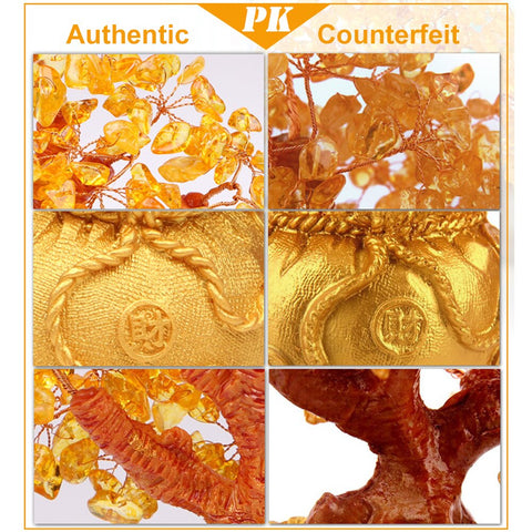Image of Crystal Lucky Money Fortune Tree Wealth Golden Home Office Decoration Best Gifts