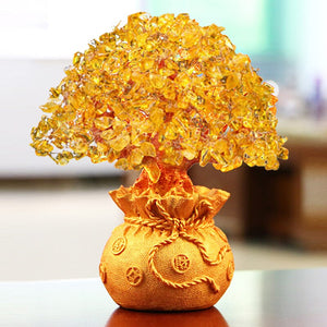 Crystal Lucky Money Fortune Tree Wealth Golden Home Office Decoration