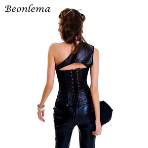 Steampunk Gothic Overbust Corset PU Leather Chain Waist Corselet (2 PCS set)