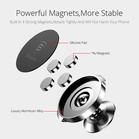 Image of Baseus Magnetic Car Holder For Phone Mobile Cell Phone Stand For Car Air Vent Mount