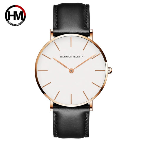 Rose Gold Dial Watch Men Leather Waterproof Wristwatch Women