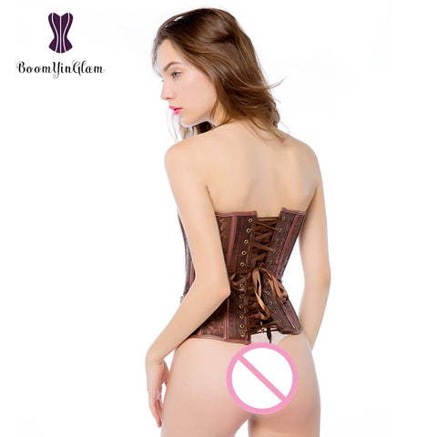 Waist Trainer Brocade Steampunk Jacquard Faux Leather Studded Overbust Brown Corset