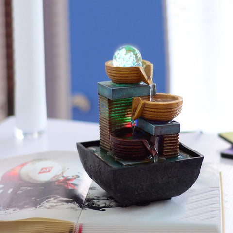 Indoor Water Fountains Decoration Crafts Room Office With Led Light