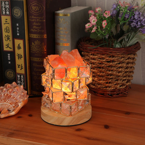 BMBY Himalayan Salt Lamp -Listed Cord &Wood Base US Plug