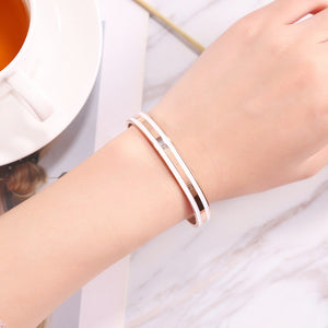 Women Bracelet Fashion Stainless Steel Bracelet Circle Dress Female Bangles Jewelry  (KSZ-ROSE GOLD)