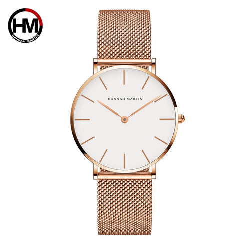 Women Watches Luxury Quartz Movement Stainless Steel Sliver Waterproof Wristwatches