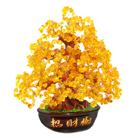 Image of Crystal Lucky Money Fortune Tree Wealth Golden Home Office Decoration