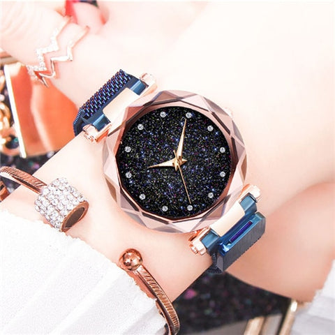 Ladies Magnetic Starry Sky Clock Luxury Women Watches Fashion Quartz Wristwatches