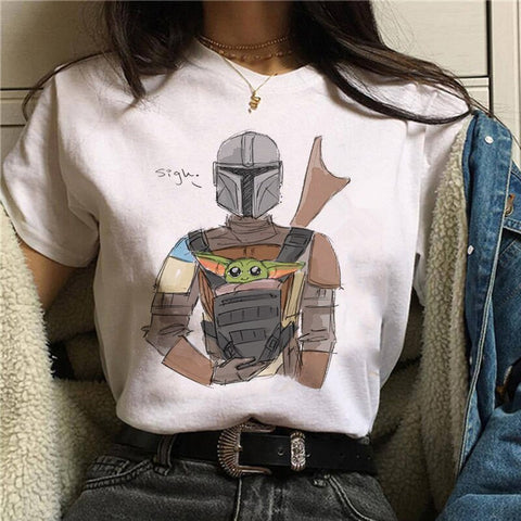 Image of 2020 Summer Baby Yoda Mandalorian T Shirt women girl T-shirt tees
