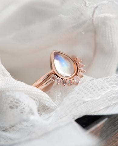 Moonstone Engagement Ring Set 14k Rose Gold