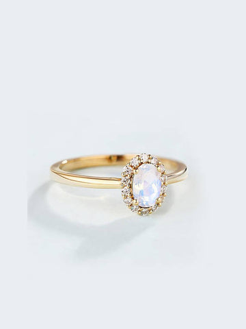 Image of Natural Oval Cut Moonstone Diamond Ring
