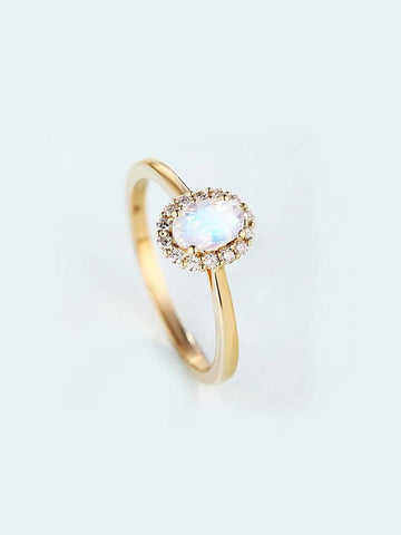 Natural Oval Cut Moonstone Diamond Ring