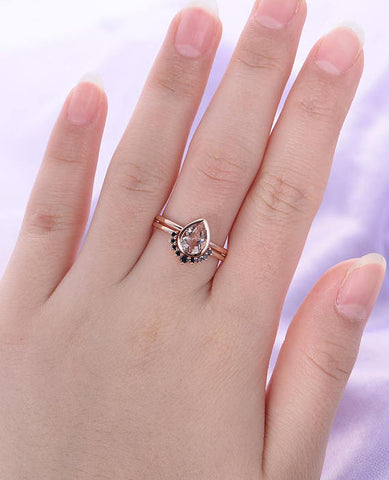 Image of Pear Shaped Cut Pink Morganite Engagement Ring Set