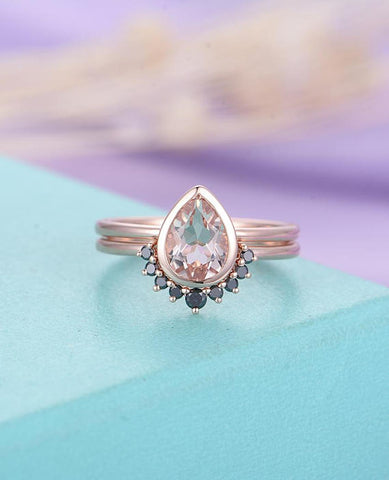 Pear Shaped Cut Pink Morganite Engagement Ring Set