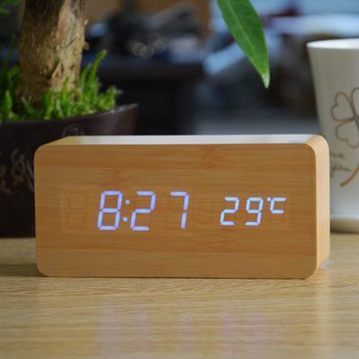 Neat Entropy bamboo blue Home Wooden Alarm Clock