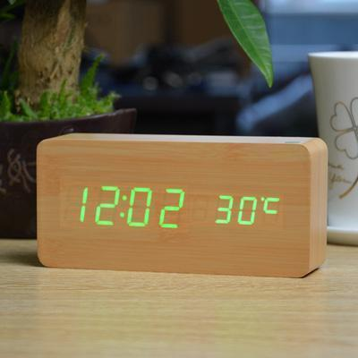 Image of Neat Entropy bamboo green Home Wooden Alarm Clock