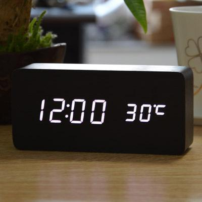 Neat Entropy black white Home Wooden Alarm Clock