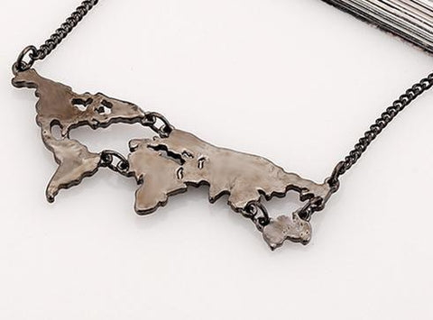 Neat Entropy Black World Map Necklace