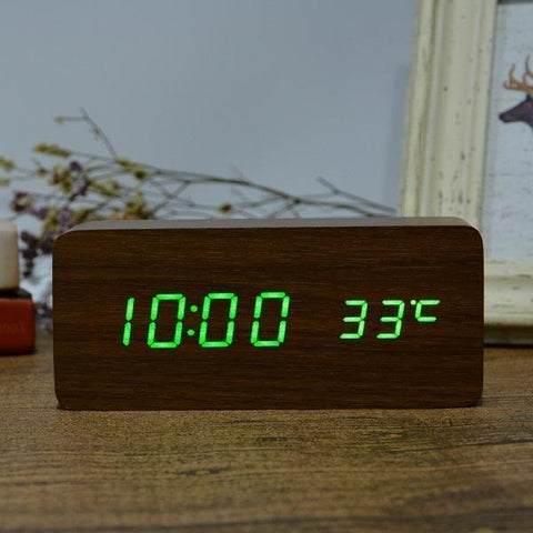 Neat Entropy brown green Home Wooden Alarm Clock