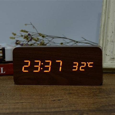 Neat Entropy brown orange Home Wooden Alarm Clock