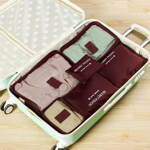 Neat Entropy Burgundy Travel Packing Cube Set (6 in 1)