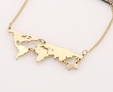 Neat Entropy Gold World Map Necklace