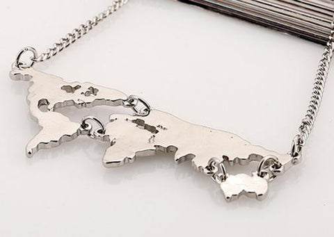 Neat Entropy Silver World Map Necklace
